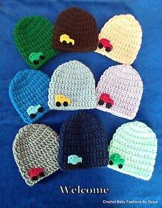 LOOK! CHARMING  BABY HATS W/ CAR - HAND CROCHET- SIZES: PREEMIE, 0-3 MOS,3-6MOS