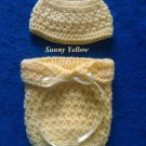 "LOOK! COMFY ""HAT & COCOON/PAPOOSE REBORN BABY SET""- SZ: PREEMIE - SUNNY YELLOW"