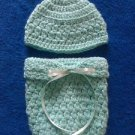 "LOOK! SWEET ""HAT & COCOON/PAPOOSE REBORN BABY SET""- SIZE: NEWBORN - MINT GREEN"