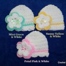 "L@@K! LOVELY ""LOT OF 3 - HAND CROCHET REBORN BABY HATS W/ FLOWER - SIZE: NEWBORN"