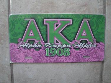 AKA license tag (pink & green)