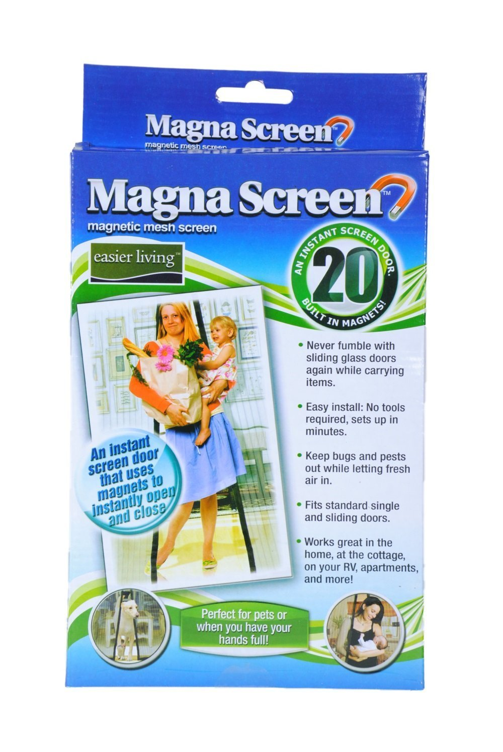New Magna Screen Magnetic Mesh Instant Magic Screen w/ 20 Magnets Single & Sliding Doors Bugs Off