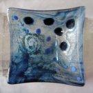 Glass Adventurine Blue Dotted Dish