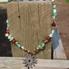 Rusty Rowel with wood and pearls necklace