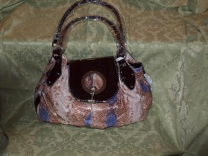 Brown snake skin textured bag