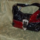 Red and black croc buckle flap handbag