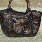 Dark Green Croc textured handbag