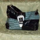 Blue and Black croc textured with buckle flap