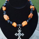 Black and Orange with cross Pendant