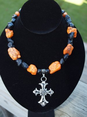 Black and Orange with cross Pendant
