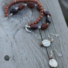 Agate bracelet with matching earring set