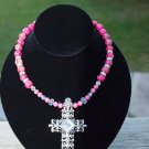 Pink Crystal cross with imperial jasper beads