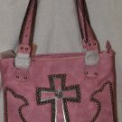 Light pink handbag with accenting cross