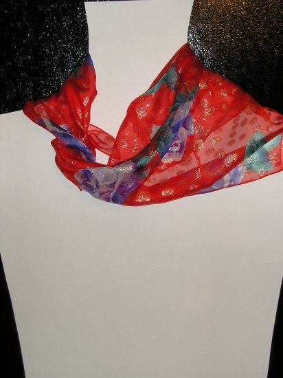 100% silk Dolce&Gabbana scarf red metallic floral
