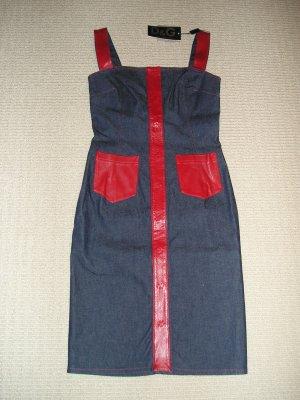 DOLCE&GABBANA DENIM/LEATHER DRESS