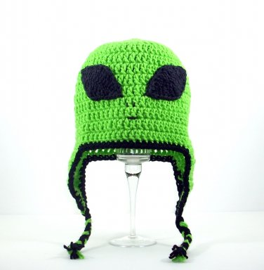 Alien Earflap Hat, Green Crochet Beanie, send size baby - adult