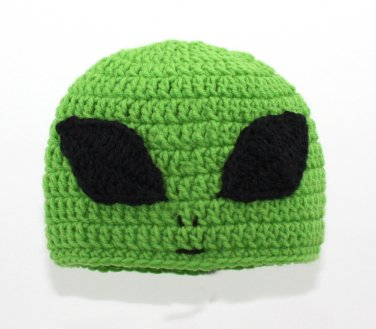Alien Hat, Green Crochet Beanie, send size baby - adult
