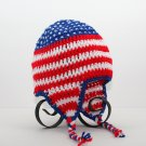 All American Earflap Hat, Crochet / Knit Beanie, send size baby - adult