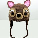 Deer Earflap Hat, Brown Crochet Beanie, send size baby - adult