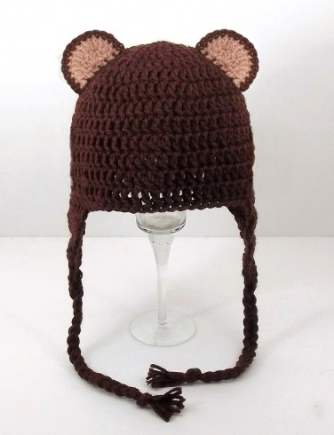 Bear Ears Earflap Hat, Brown Crochet Beanie, send size baby - adult