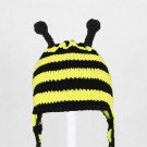 Bee Earflap Hat, Crochet / Knit Beanie, send size baby - adult