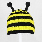 Bee Hat, Crochet / Knit Yellow Black Beanie, send size baby - adult