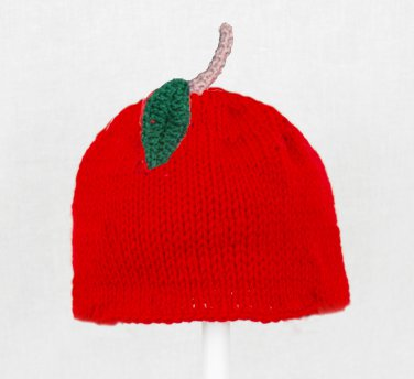 Apple Hat for Boys, Red Crochet / Knit Beanie, send size baby - adult
