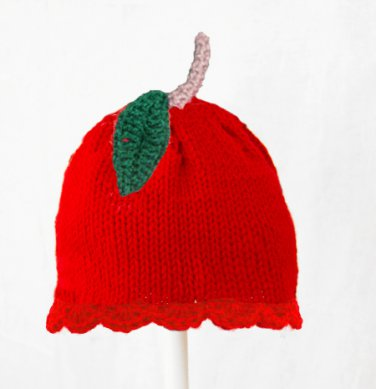 Apple Hat for Girls, Red Crochet / Knit Beanie, send size baby - adult