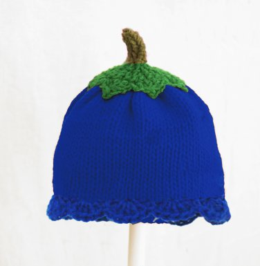 Blueberry Hat for Girls, Blue Crochet / Knit Beanie, send size baby - adult