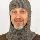 Knights Coif Chainmail Hat, Gray Crochet Beanie, send size baby - adult