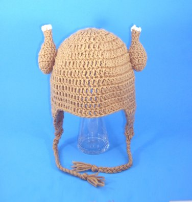 Chicken Viking Earflap Hat, Crochet Tan Beanie, Send Size Baby - Adult