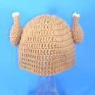 Chicken Viking Hat, Crochet Tan Beanie, Send Size Baby - Adult