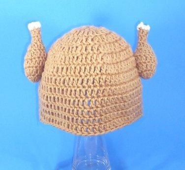 Chicken Viking Hat, Crochet Tan Beanie, Send Size Baby - Adult