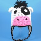Cow Earflap Hat, Black and White Crochet Beanie, send size baby - adult