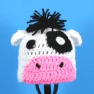 Cow Hat, Black and White Crochet Beanie, send size baby - adult