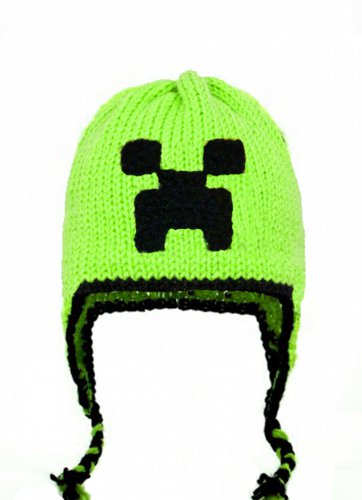Creeper Hat, Green Crochet / Knit Beanie, send size baby - adult