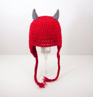 Devil Earflap Hat, Red Crochet Beanie, send size baby - adult