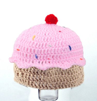 Cupcake Hat with Sprinkles, Crochet Pink Beanie, Send Size Baby - Adult
