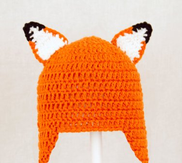 Fox Earflap Hat, Orange Crochet Beanie, send size baby - adult