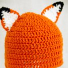 Fox Hat, Orange Crochet Beanie, send size baby - adult
