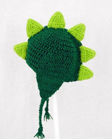 Dinosaur Earflap Hat, Green Crochet Beanie, send size baby - adult