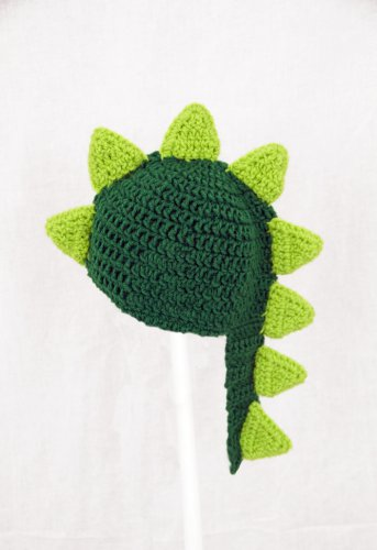 Dinosaur with Tail Hat, Green Crochet Beanie, send size baby - adult