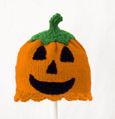 Jack O Lantern Hat for Girls, Orange Pumpkin Knit Crochet Beanie, send size baby - adult