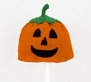 Jack O Lantern Hat for Boys, Orange Pumpkin Knit Crochet Beanie, send size baby - adult