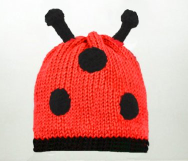 Ladybug Hat, Red Knit Crochet Beanie, send size baby - adult