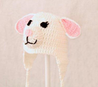 Lamb Earflap Hat, White Crochet Beanie, send size baby - adult