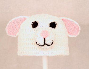 Lamb Hat, White Crochet Beanie, send size baby - adult