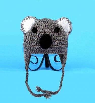 Koala Earflap Hat, Gray Crochet Beanie, send size baby - adult