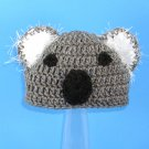 Koala Hat, Gray Crochet Beanie, send size baby - adult