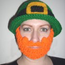 Irish Beard Hat, Green Crochet St. Patrick's Day Beanie, Send Size Baby - Adult